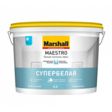 Краска для потолка MARSHALL Maestro Белый потолок люкс 9 л., фото 1