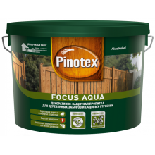 Пропитка Pinotex Focus Aqua  Золотая осень, для деревянных заборов и садовых строений 9 л., фото 1