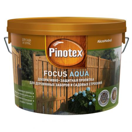 Пропитка Pinotex Focus Aqua  Зеленый лес, для деревянных заборов и садовых строений 9 л., фото 4