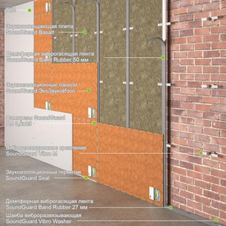 "Каркасная звукоизоляция стены ""Стандарт+"" Толщина - 73 мм, RW = 68-70 дБ., фото 1"